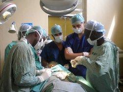 Medical electives students observe a surgery in Kenya