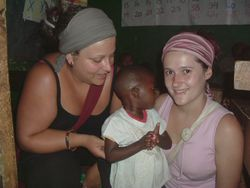 Volunteers in an orphanage