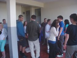 Volunteers during orientation
