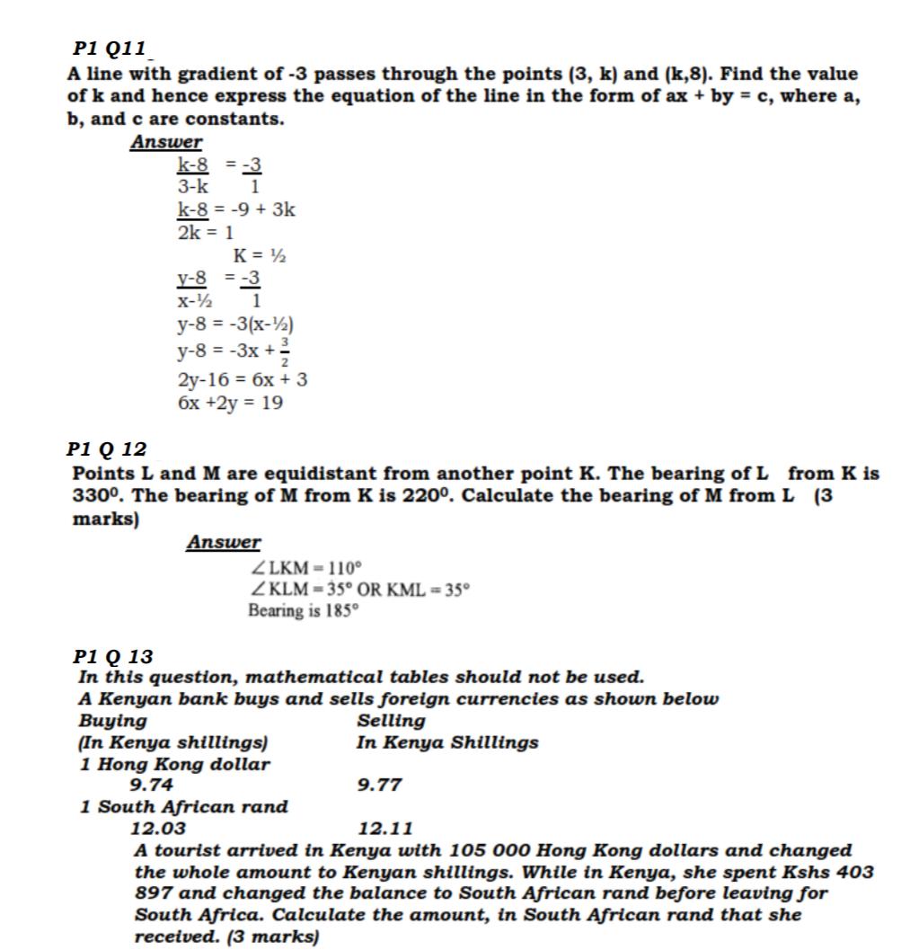 KCSE Past Papers 2016 Mathematics Alt A Paper 1 - KNEC KCSE