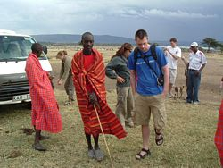 Volunteers visit Masai village.