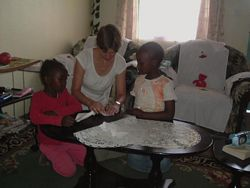 Volunteer teaching Africa