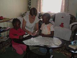 Volunteer teaching Africa