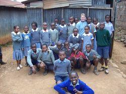 Volunteer Teaching Kenya - Tara (university of Utah) at Kawangware School