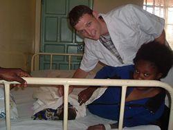 A pre-med volunteer in a hospital facility.